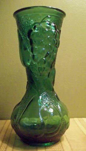 Italian Green Glass Fruit Patterned Vase Vintage Large