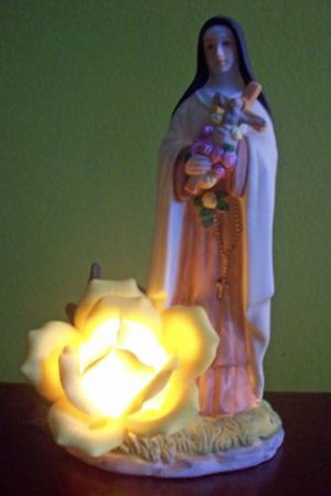 Lighted Virgin Mary and Yellow Rose Figurine Roman Inc.
