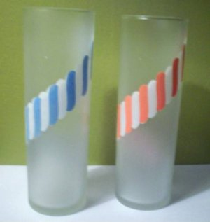 2 Tall Frosted and Candy Striped Glasses by Libbey