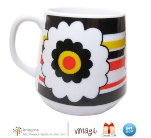 Vintage Retro Striped Flower Cup Black Orange Yellow White Mod Art Daisy Wildflower Coffee Mug