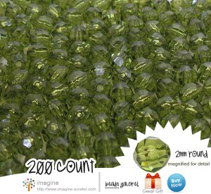 200 Forest Green Colored Acrylic / Plastic Faceted Beads 2mm Round Facet Style Loose Bead Lot