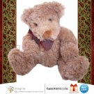 "Russ Berrie HIGGINS Curly Brown Teddy Bear 7"" Plush Vintage Style Stuffed Animal Christmas"