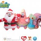 "TY SpongeBob Squarepants Beanie Lot 7"" Patrick Claus 7"" Patrick Star 5"" Gary Snail Plush Christmas"