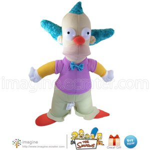 "The Simpsons 15"" KRUSTY the Clown Collectible Nanco Doll Plush Stuffed Toy Herschel Krustofski 2005"