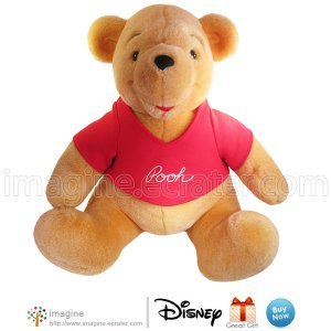 "Large 14"" Tall Vintage Disneyland Exclusive Winnie the Pooh Bear Plush Toy Disney Stuffed Animal"