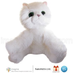 "Big Fluffy White Russ Berrie Cat HANS Cuddly Plush Kitten 14"" Tall Stuffed Animal Large Eyes RARE"