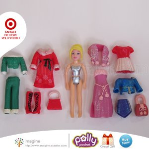 2002 Fashion Polly Pocket Polly Holiday Seasonal Christmas Lot TARGET Exclusive Set Clothes & Doll