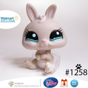Littlest Pet Shop LPS Walmart EXCLUSIVE Tan Beige Baby Dwarf Bunny Rabbit # 1258
