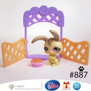 Littlest Pet Shop LPS Yellow & Brown Long Eared Bunny Rabbit # 887 with Accessories