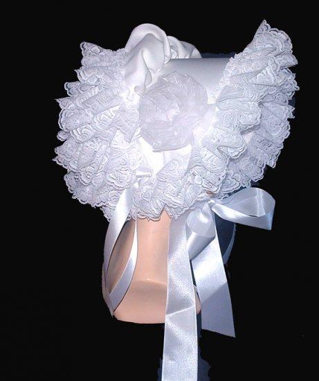 Beautirul White Lacy Southern Belle Sissy Bonnet