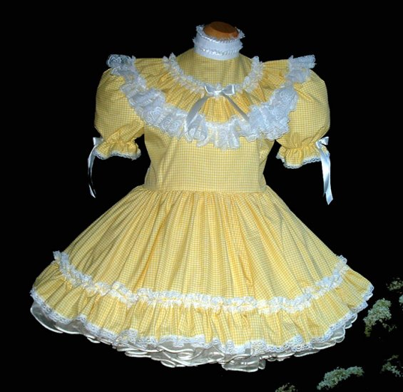 Adult sissy Yellow Gingham Dress