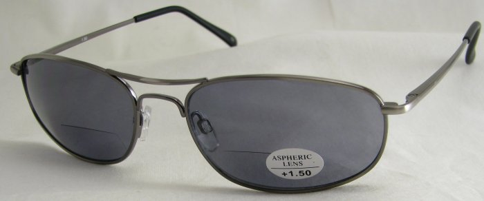 505RP-150 TINTED READING GLASSES SUNGLASSES READERS PEWTER COLORED METAL FRAME +1.50 BIFOCAL