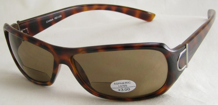 128RLST-300 READING SUNGLASSES READERS TINTED LEOPARD SPOTTED TORTOISE PLASTIC FRAME +3.00 BIFOCAL