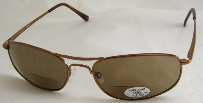 505RC-250 SUN READERS TINTED READING GLASSES SUNGLASSES - COPPER COLORED METAL FRAME +2.50 BIFOCAL