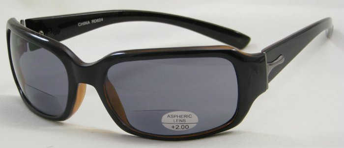 624RDB-200 READING SUNGLASSES TINTED SUN READERS DARK BROWN PLASTIC FRAME +2.00 BIFOCAL