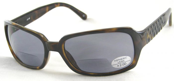 933RT-200 READING SUNGLASSES TINTED SUN READERS TORTOISE PLASTIC FRAME SMOKE LENSES +2.00 BIFOCAL