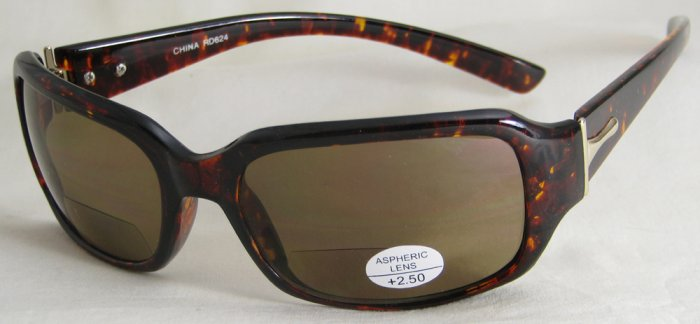 624RDBT READING SUNGLASSES TINTED SUN READERS +2.50 BIFOCAL