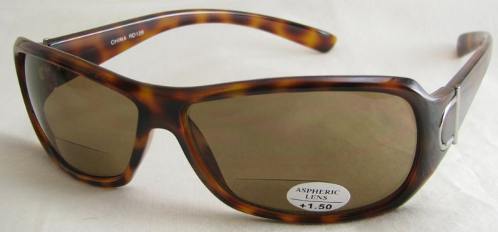 128RLST-150 TINTED READING SUNGLASSES READERS LEOPARD SPOTTED TORTOISE PLASTIC FRAME +1.50 BIFOCAL