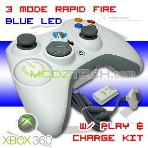 3 MODE XBOX 360 RAPID FIRE Controller 360 Turbo with BLUE LED Lights + Play and Charge Kit