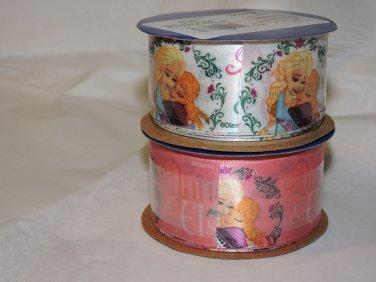 Frozen spool of satin ribbon Anna Elsa 9ft WHITE