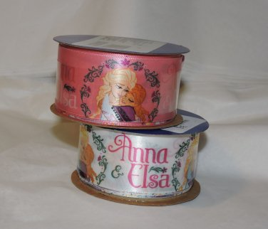 Frozen spool of satin ribbon Anna Elsa 9ft PINK