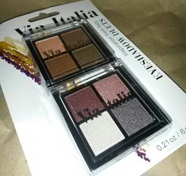 Via Italia eye shadow quads 2pk warm bronze and rose wine shimmer
