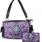 Western Turquoise Concho Colorful Designs Concealed Carry Handbag Wallet Purple