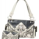 Western Rhinestone Cross Roses Vines Carry Concealed Handbag  and Wallet Grey