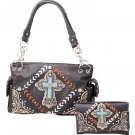Western Faux Turquoise Cross Carry Concealed Handbag and Crossbody Wallet Black