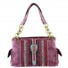 MW324G-8085 Montana West Concealed Carry Patina Buckle Handbag Satchel Burgundy