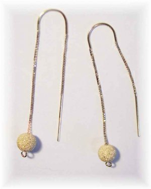 Laser shimmer ball drop 14k threader earrings.  Versatile all year.