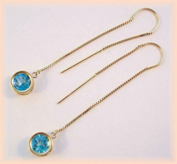 Gemstone threaders.  Paraiba-teal 6mm TOPAZ THREADER EARRINGS