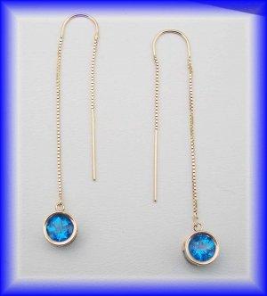 Gemstone Threaders.  14k glacier blue earrings