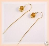 Genuine mandarin citrine gemstone 14k threader earrings
