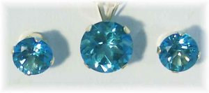 Perfect 14k paraiba-teal color topaz 6mm stud earrings and 8mm pendant