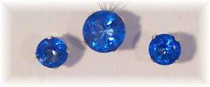 Perfect GLACIER BLUE Topaz 14k 6mm stud earrings 8mm pendant