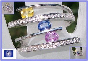 Fancy yellow blue pink sapphires & diamonds 18k white gold ring Sz 7