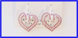 "Austrian Crystal pink heart 1.5"" dangle 3-D swirl earrings"