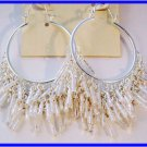 "END OF SEASON CLEARANCE white fringe silvertone hoop earrings 2.5"""