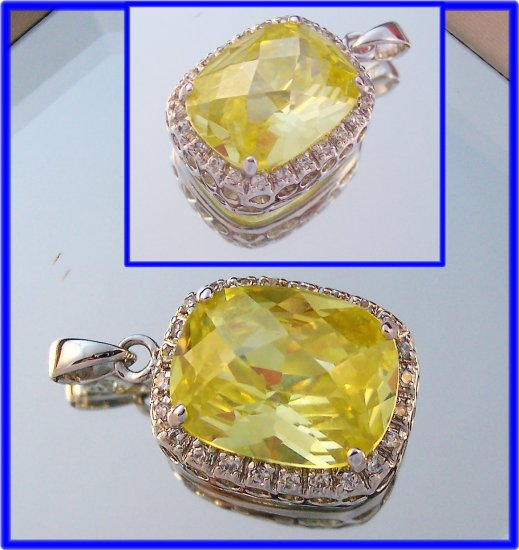 Huge 14x10 cushion checkerboard cut yellow cz sterling pendant