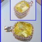 Huge 14x10 cushion checkerboard cut yellow cz sterling pendant