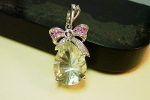 Huge Prasiolite Green Amethyst pink topaz pendant