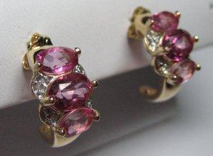 Faux pink sapphire / diamond earrings.  Heiress style.  Believable