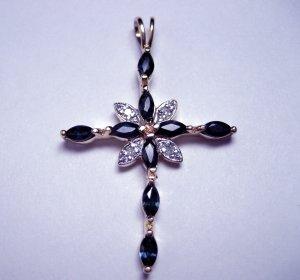 "Blue marquise cut sapphire cross pendant.  1.25"""