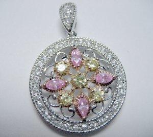 Springtime sparkling pink yellow white czs medallion pendant