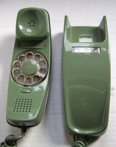 Vintage Western Electric Trimline Moss Green AC1 Rotary Dial Wall Phone 1960s