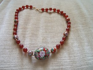 CARNELIAN & CLOISONNE NECKLACE 20""