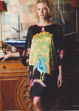 MB110015 Maternity Black Hand Painted Peacock Pure Silk Night Dress Gown Clearance Sale