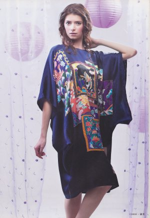 MB11003 Maternity Navy Blue Hand Painted Pure Silk Night Dress Gown Clearance Sale