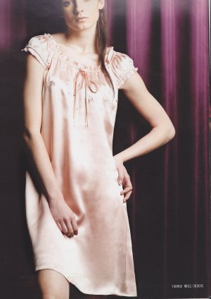 MB730002 Pearl Pink 100% Pure Silk One Piece Sleepwear Night Dress Gown Knee Length Clearance Sale